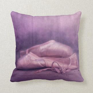 ballerina ballet shoes in pink throw pillow