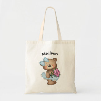 Ballerina Bear in Blue Tutu Tote Bag