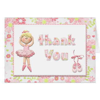 Ballerina Birthday Party Thank You Card