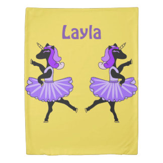 Ballerina black unicorns yellow/purple duvet cover