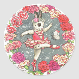 Ballerina Bunny Stickers Carnation