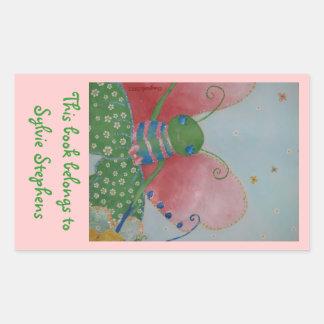 Ballerina butterfly bookplate sticker
