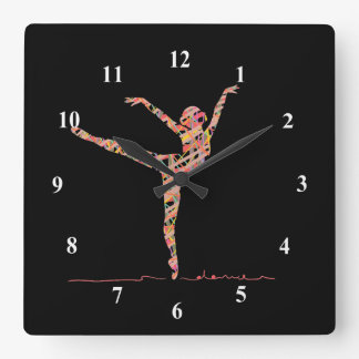 Ballerina cute girl dancing ballet square wall clock
