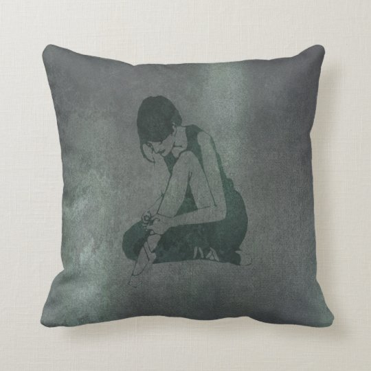 Ballerina Dancer Brake Teal Grungy Metallic Black Throw Pillow