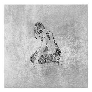 Ballerina Dancer Grungy Metallic Silver Gray Poster