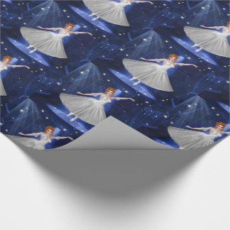 Ballerina Dancer in White Under Spotlight and Blue Wrapping Paper