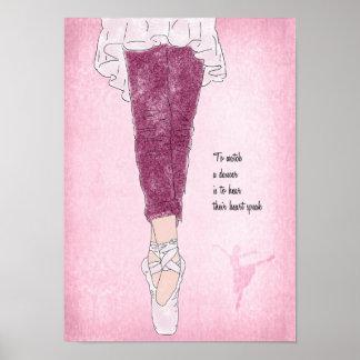 Ballerina Dancer on Pointe in Pink Poster