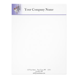 Ballerina Dancer Shadows on Purple Letterhead Template
