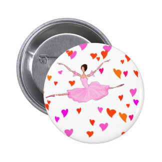 Ballerina dancing in Colorful Hearts 2 Inch Round Button