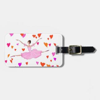 Ballerina dancing in Colorful Hearts Bag Tag