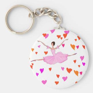 Ballerina dancing in Colorful Hearts Basic Round Button Keychain