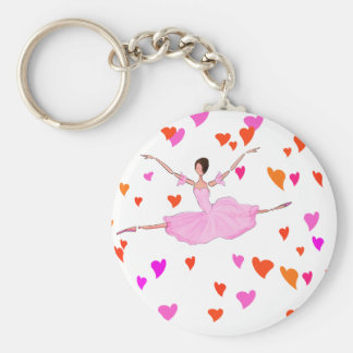 Ballerina dancing in Colorful Hearts Keychain