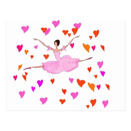 Ballerina dancing in Colourful Hearts Postcard