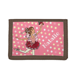 Ballerina dark hair girl pink red name wallet
