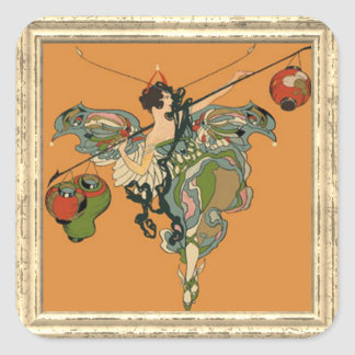 Ballerina Faerie With Lanterns Square Sticker