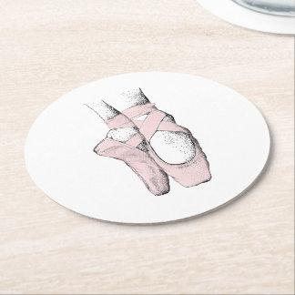 Ballerina Feet on Pointe #1 Lt Pink Round Paper Coaster