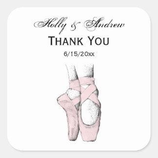 Ballerina Feet on Pointe #1 Lt Pink Square Sticker