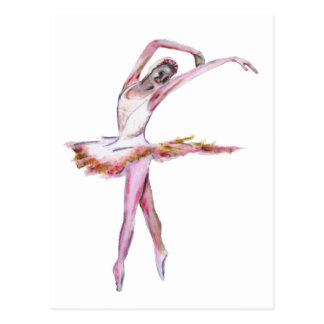 ballerina , female dancer , dance art postcard