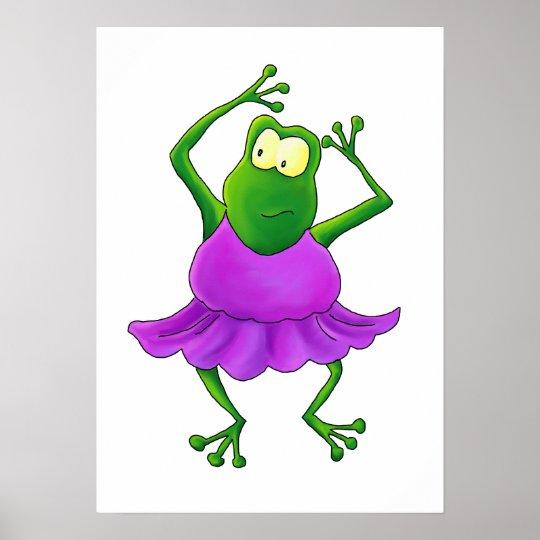 Ballerina Frog with Purple Tutu Poster