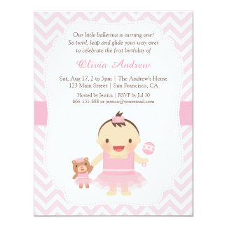 Ballerina Girl First Birthday Party Invitations