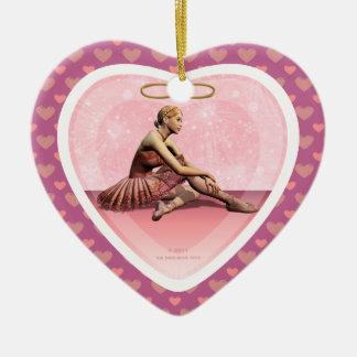Ballerina Girl Merry Christmas Heart Ornament
