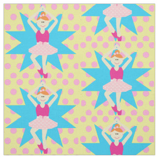 Ballerina Girl On Pink Polka Dot Fabric