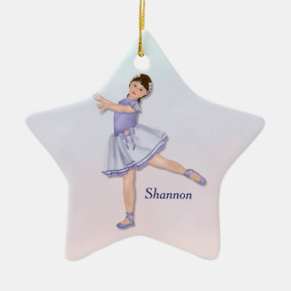 Ballerina Girl Pastel Ceramic Star Ornament