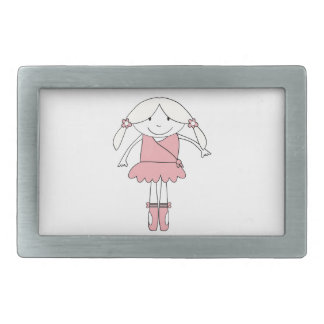 Ballerina Girl Rectangular Belt Buckle
