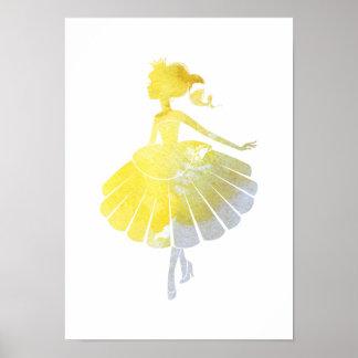 Ballerina gold princess poster