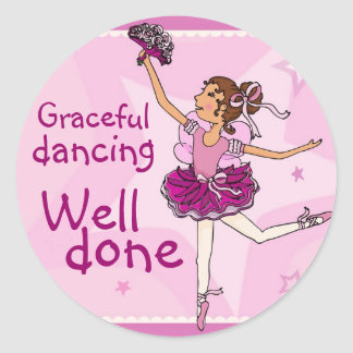Ballerina graceful dancing sticker brunette/pink