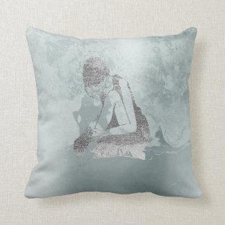 Ballerina Gray Grungy Metallic Silver Aqua Tiffany Throw Pillow