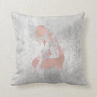 Ballerina Gray Grungy Metallic Silver Gray Pink Throw Pillow