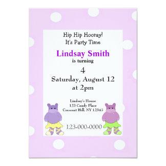 "Ballerina Hippo Party Invitation 4.5"" X 6.25"" Invitation Card"