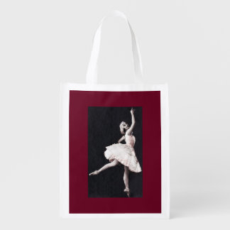 Ballerina in Antique Ruffles Reusable Grocery Bag