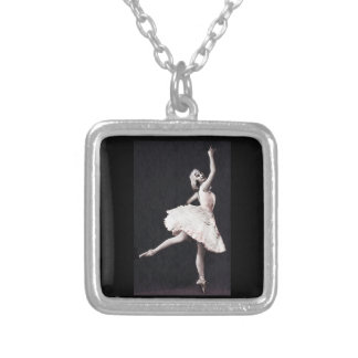 Ballerina in Antique  Ruffles Silver Plated Necklace