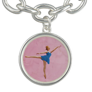 Ballerina in Arabesque Position, Customizable Charm Bracelets
