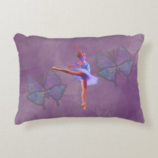 Ballerina in Arabesque Position in Purple and Blue Accent Pillow