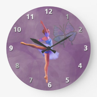 Ballerina in Arabesque Position in Purple and Blue Large Clock