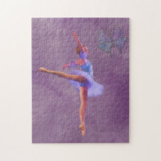 Ballerina in Arabesque Position in Purple and Blue Puzzle