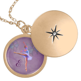 Ballerina in Arabesque Position, Monogram Locket Necklace