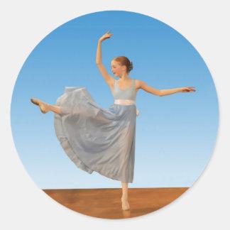 Ballerina in Blue Costume Round Sticker
