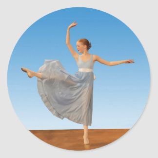 Ballerina in Blue Costume Round Stickers