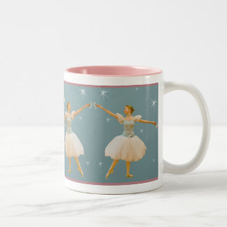 Ballerina in Green and White Two-Tone Coffee Mug