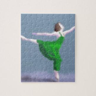 Ballerina in Green Art Jigsaw Puzzle