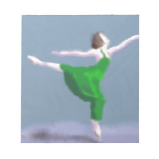 Ballerina in Green Art Notepad