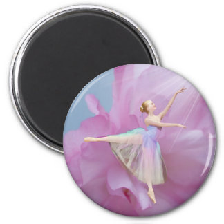 Ballerina in Pink and Blue 2 Inch Round Magnet