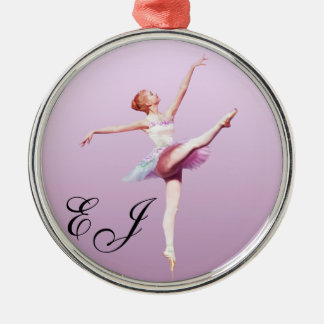 Ballerina in Pink and Lavender Silver-Colored Round Ornament