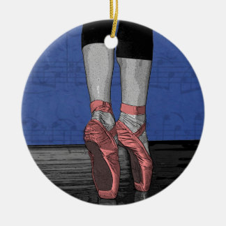 Ballerina in Pink Pointe Shoes Ceramic Ornament