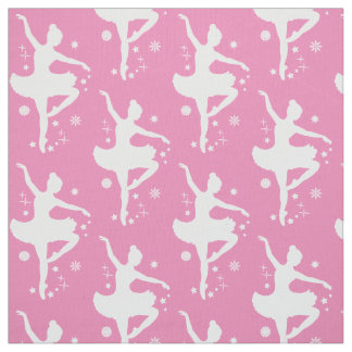 Ballerina in Silhouette in the Snow Fabric