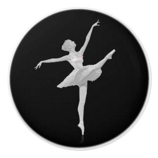 Ballerina in Silver and Black Ceramic Knob